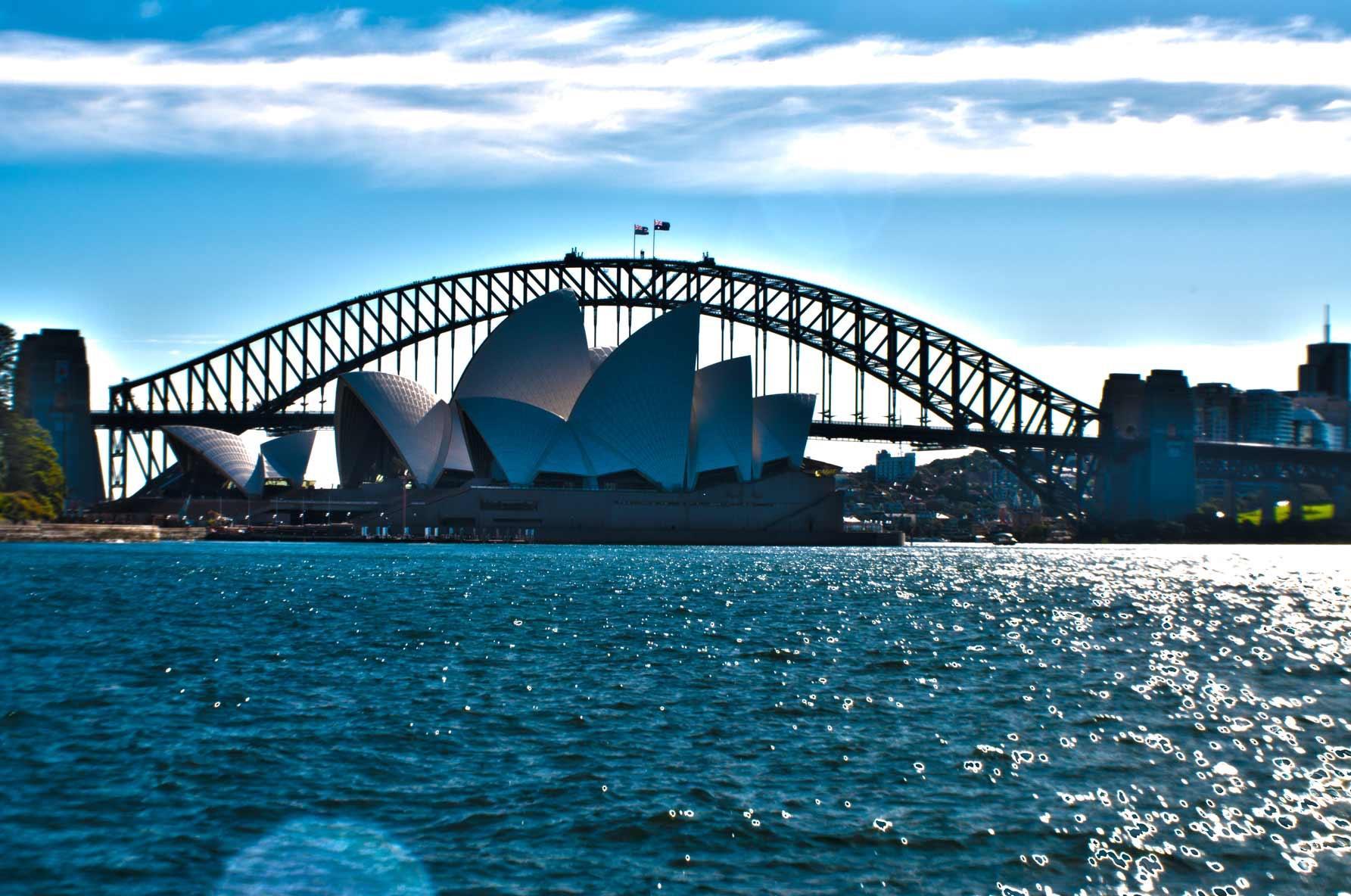 The iconic Opera House and Harbour Bridge in Sydney, Australia