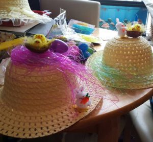 Chaos while making Easter Bonnets at the Clark household.